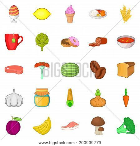 Ration icons set. Cartoon set of 25 ration vector icons for web isolated on white background
