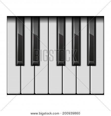 Piano One Octave Keys on White Background. Vector Illustration