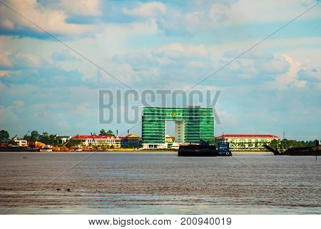 The Green House With The Arch And The River. Sibu City, Sarawak, Malaysia Borneo