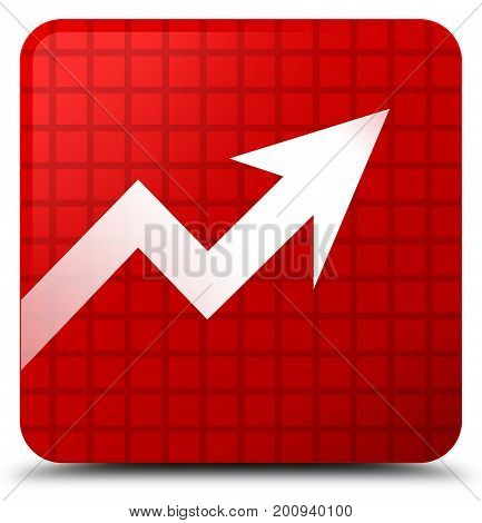 Business Graph Icon Red Square Button