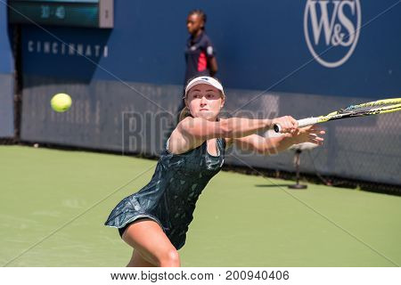 Mason Ohio - August 13 2017: Aliaksandra Sasnovich in a qualifying match at the Western and Southern Open tennis tournament in Mason Ohio on August 13 2017.