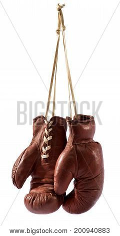 Boxing Gloves Hanging Against White Background