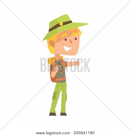 Smiling young man wearing comfy travel outfit with backpack standing with a sign hitchhiking, travelling by autostop cartoon vector Illustration on a white background