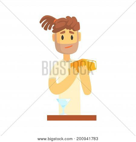 Bartender man character with dreadlocks standing at the bar counter, barman at work cartoon vector Illustration on a white background