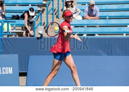 Mason Ohio - August 12 2017: Donna Vekic in a qualifying match at the Western and Southern Open tennis tournament in Mason Ohio on August 12 2017.