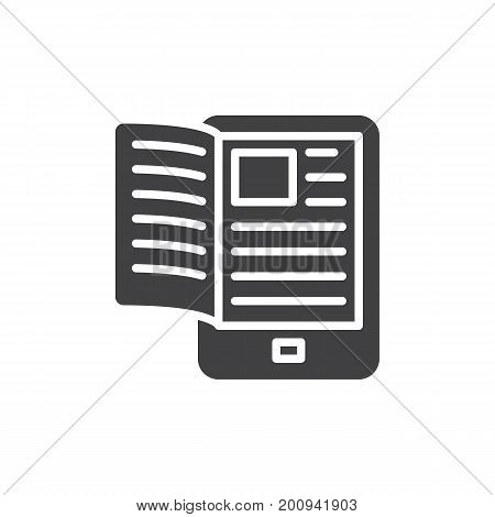 Electronic book reader icon vector, filled flat sign, solid pictogram isolated on white. Symbol, logo illustration. Pixel perfect vector graphics