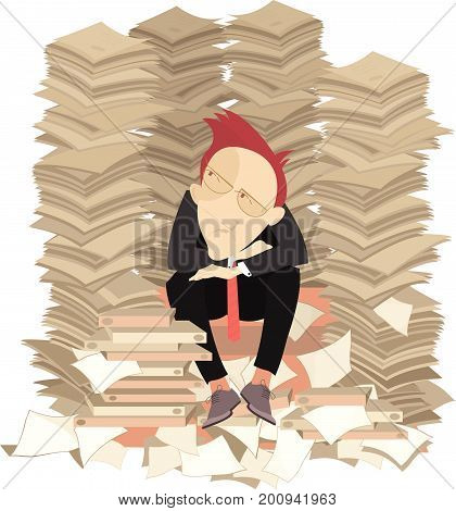 Too much documents and businessman illustration. Pensive businessman surrounded by piles of documents