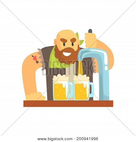 Bald bearded bartender man character standing at the bar counter pouring beer, barman at work cartoon vector Illustration on a white background