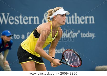 Mason Ohio - August 16 2017: Angelique Kerber in a second round match at the Western and Southern Open tennis tournament in Mason Ohio on August 16 2017.