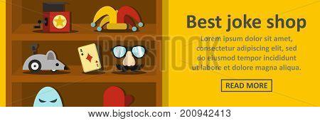 Best joke shop banner horizontal concept. Flat illustration of best joke shop banner horizontal vector concept for web