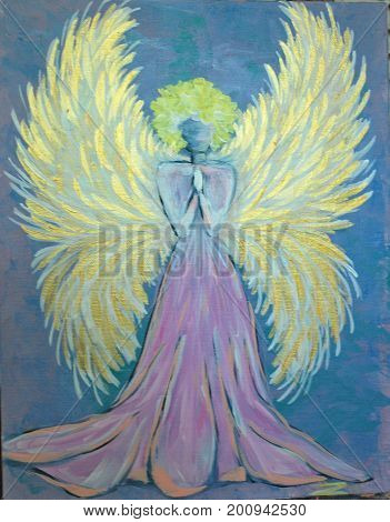 Acrylic Painting on Canvas of Golden Winged Angel Praying on Blue Background