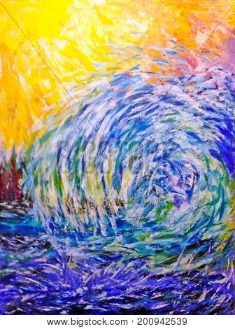 Acrylic Painting on Canvas of Abstract Ocean Wave in Yellows, Blues, Turquoise