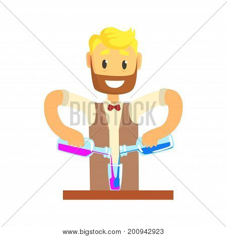 Bartender man character standing at the bar counter mixing cocktail, barman at work cartoon vector Illustration on a white background
