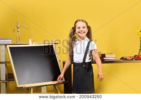 Schoolgirl With Cheerful Face And Ponytails Stands In Classroom