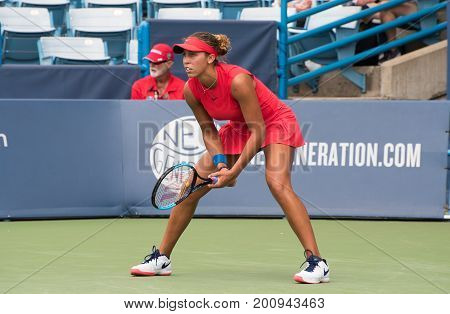 Mason Ohio - August 16 2017: Madison Keys in a second round match at the Western and Southern Open tennis tournament in Mason Ohio on August 16 2017.