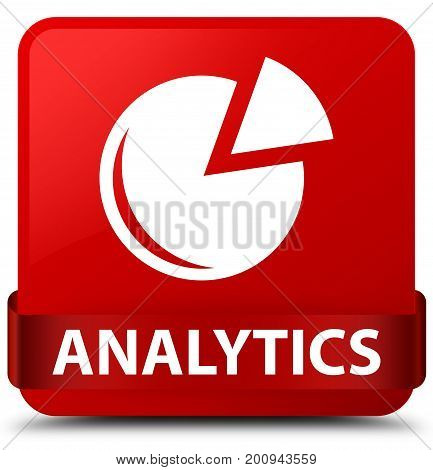 Analytics (graph Icon) Red Square Button Red Ribbon In Middle