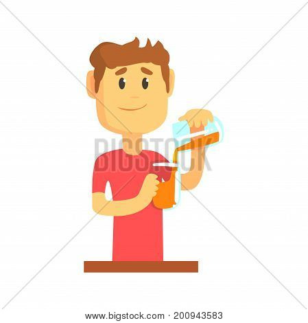 Young bartender man character standing at the bar counter pouring alcoholic beverage, barman at work cartoon vector Illustration on a white background