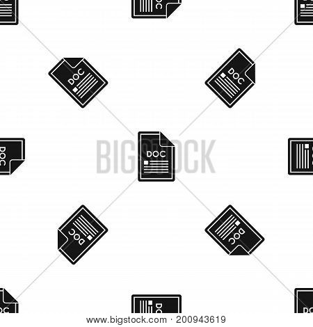 File DOC pattern repeat seamless in black color for any design. Vector geometric illustration