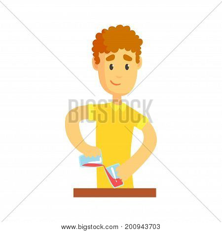 Young bartender man character standing at the bar counter, barman at work cartoon vector Illustration on a white background