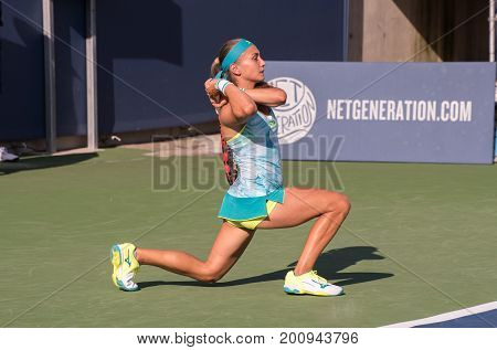 Mason Ohio - August 12 2017: Aleksandra Krunic in a qualifying match at the Western and Southern Open tennis tournament in Mason Ohio on August 12 2017.
