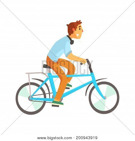 Cyclist male in casual clothes riding a bike, sport lifestyle, cycling, riding, relax cartoon vector Illustration on a white background