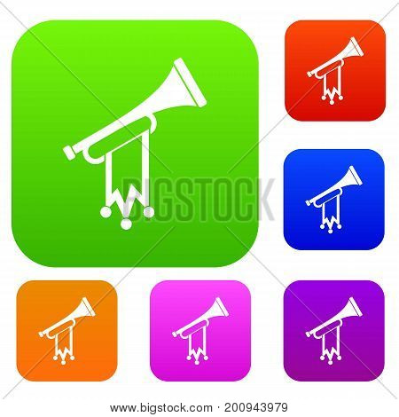 Trumpet with flag set icon in different colors isolated vector illustration. Premium collection