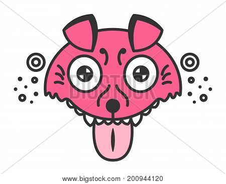 Mad dog. Cartoon pink puppy. Funny illustration isolated on white. Dog is mad about playing with ball