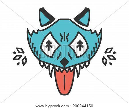 Mad wolf. Cartoon animal isolated on white. Stylized wild wolf head. Animal with bared teeth. Cyan illustration
