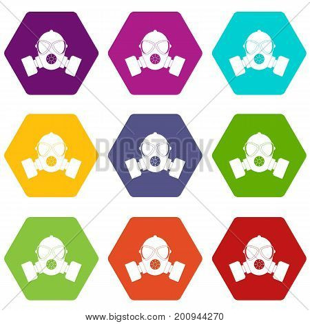 Respirator icon set many color hexahedron isolated on white vector illustration