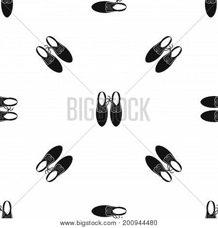 Tied laces on shoes joke pattern repeat seamless in black color for any design. Vector geometric illustration