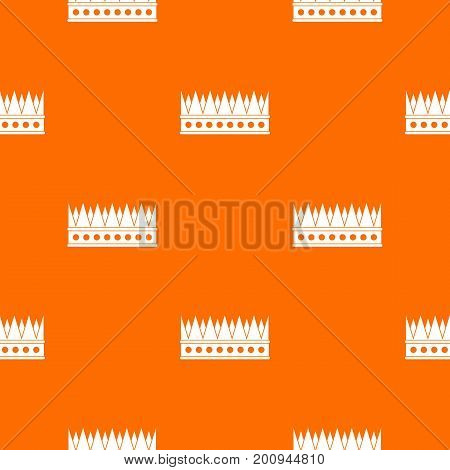 Regal crown pattern repeat seamless in orange color for any design. Vector geometric illustration