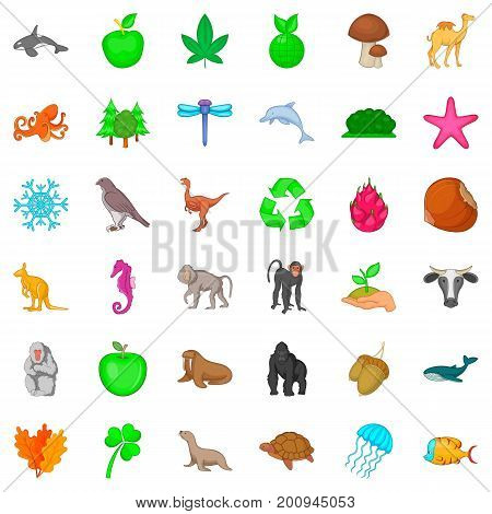 Animal species icons set. Cartoon style of 36 animal species vector icons for web isolated on white background