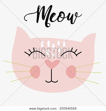 cute cat vector illustration fun colorful meow