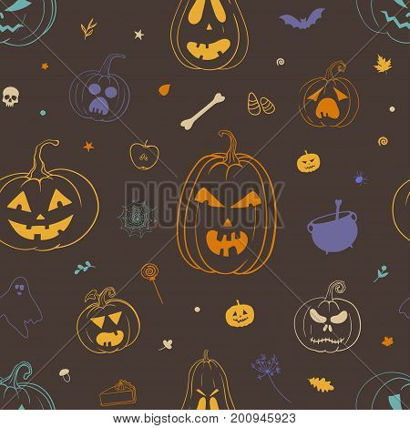 Colorful Halloween pattern. Vector seamless pattern for Halloween with carved pumpkins autumn leaves bat ghost cauldron candy and other doodles.