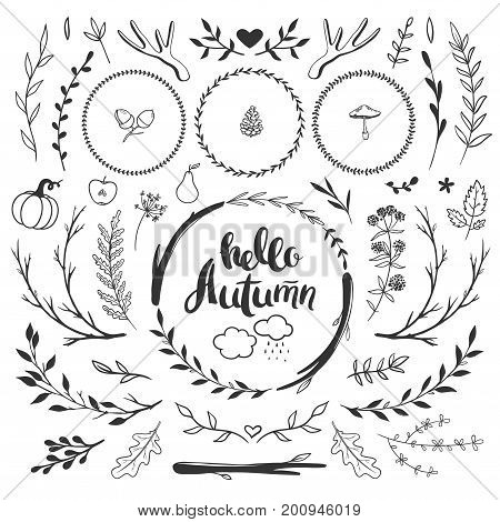 Autumn decorative set with floral wreaths flowers leaves and herbs. Vector hand drawn autumn doodles isolated on white rustic style.