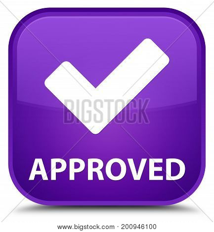 Approved (validate Icon) Special Purple Square Button