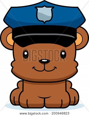 Cartoon Smiling Police Officer Bear