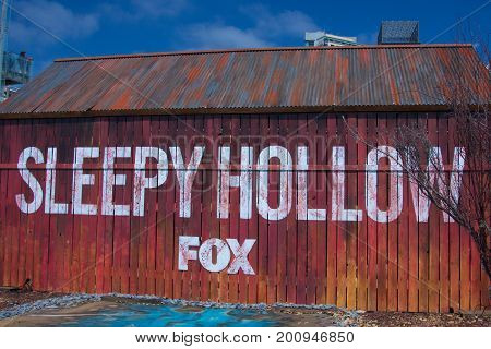 San Diego, CA - July 26, 2014:  The set for Fox's Sleepy Hollow at Comic Con 2014 in San Diego, CA.