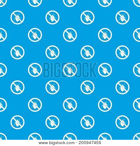 No bug sign pattern repeat seamless in blue color for any design. Vector geometric illustration