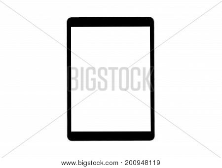 Tablet computer with blank screen mock up isolated on white background. Tablet computer. tablet white screen. Empty space for text. Blanc empty screen.