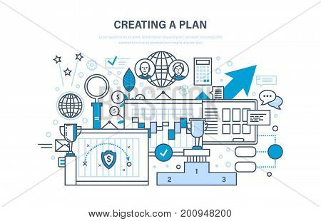 Creating a plan. Time management and optimization work time, planning, marketing, control, organization. Financial and business strategy. Job plan. Illustration thin line design of vector doodles.
