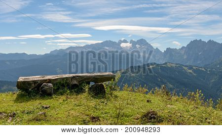Outlook with bench on the Dachstein glacier
