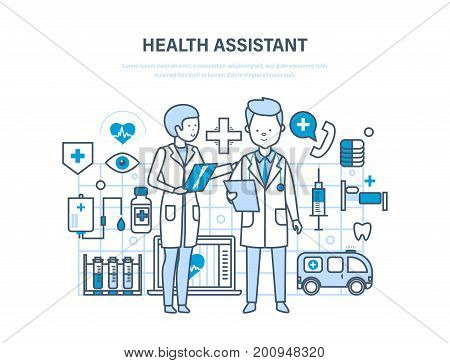 Health assistant concept. Modern health care system. Joint work, assistant doctor. Team medical people. Illustration thin line design of vector doodles, infographics elements.