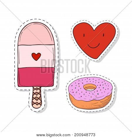 Patches elements with sweets girly elements. Vector doodle funny badges. Modern clip art. Cartoon stickers design.