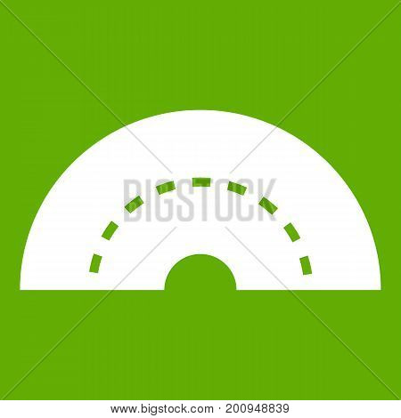 Round turning road icon white isolated on green background. Vector illustration