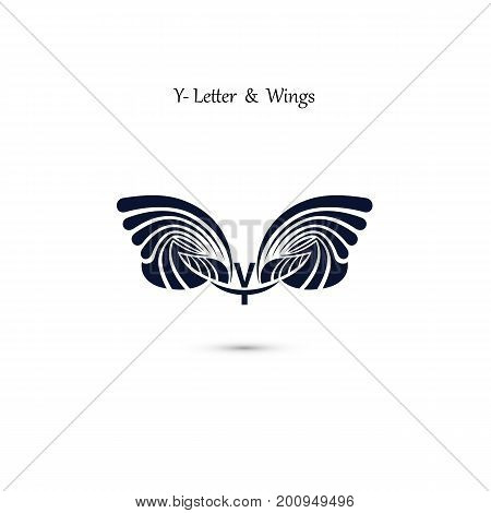 Y-letter sign and angel wings.Monogram wing vector logo template.Vector illustration.