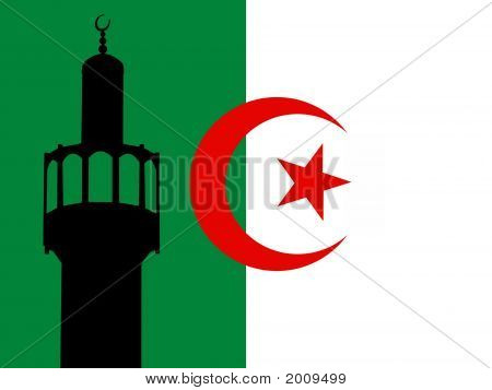 Minaret of mosque against Algerian Flag illustration poster