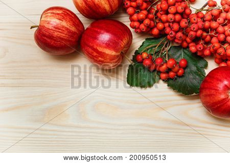 Autumnal composition with apples and rowan-berry.wooden background.top view