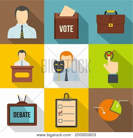 Political icons set. Flat set of 9 political vector icons for web isolated on white background