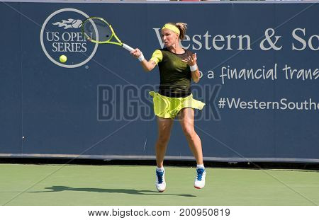 Mason Ohio - August 16 2017: Svetalna Kuznetsova in a second round match at the Western and Southern Open tennis tournament in Mason Ohio on August 16 2017.